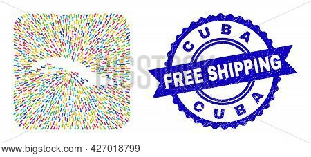 Vector Mosaic Cuba Map Of Straight Arrows And Scratched Free Shipping Seal. Mosaic Cuba Map Designed
