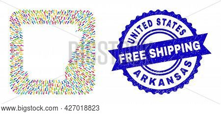 Vector Mosaic Arkansas State Map Of Emigration Arrows And Scratched Free Shipping Seal Stamp. Collag