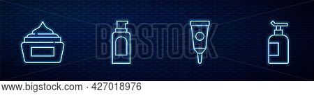 Set Line Cream Or Lotion Cosmetic Tube, , Spray Can For Hairspray And . Glowing Neon Icon On Brick W
