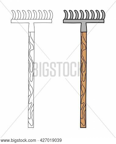 Iron Rake With Straight Teeth And A Wooden Handle In A Simple Flat Graphic Outline Style. Linear And