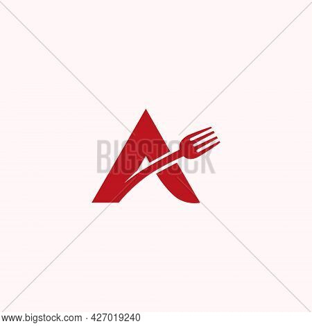 Letter A And Cutlery For The Logo Of Restaurants, Cafes, Canteens Or Other Places To Eat
