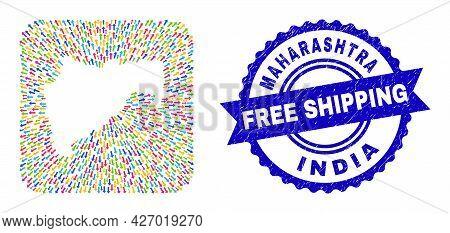 Vector Mosaic Maharashtra State Map Of Pointing Arrows And Rubber Free Shipping Badge. Mosaic Mahara