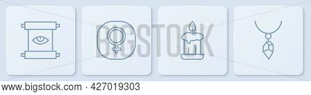 Set Line Ancient Magic Scroll, Burning Candle, Venus And Necklace With Crystal. White Square Button.