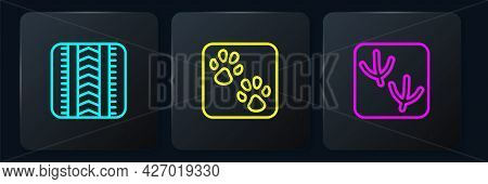 Set Line Tire Track, Dove Paw Footprint And Paw. Black Square Button. Vector