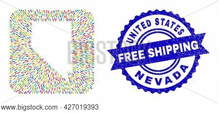 Vector Mosaic Nevada State Map Of Migration Arrows And Grunge Free Shipping Badge. Mosaic Nevada Sta