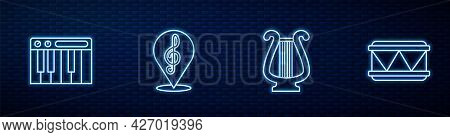 Set Line Ancient Lyre, Music Synthesizer, Treble Clef And Drum. Glowing Neon Icon On Brick Wall. Vec