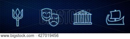 Set Line Parthenon, Neptune Trident, Comedy And Tragedy Masks And Greek Trireme. Glowing Neon Icon O