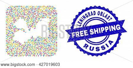 Vector Collage Leningrad Region Map Of Emigration Arrows And Rubber Free Shipping Badge. Collage Len