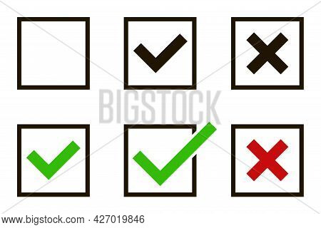 Creative Vector Illustration Of Green Check Mark, Red Cross Isolated On Transparent Background. Righ