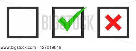 Green Check Mark And Red Cross Icon.set Of Simple Icons In Flat Style: Yes/no, Approved/disapproved,
