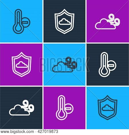 Set Line Meteorology Thermometer, Windy Weather And Weather Forecast Icon. Vector
