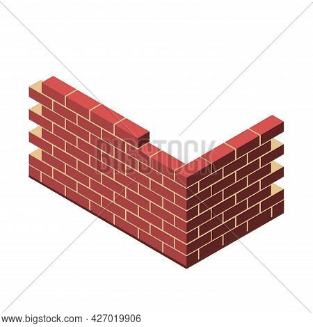 Brick Wall Clipart. Brick Wall Isolated Simple Flat Vector Clipart