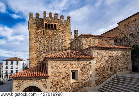 Bujaco Tower, Torre De Bujaco In Caceres Main Square, Extremadura, Spain The Most Important Tower An