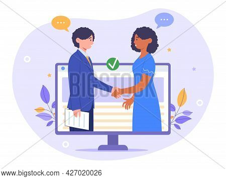 Virtual Deal Concept. A Woman And A Man Signed A Cooperation Agreement. Partners Shake Hands With Ea
