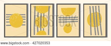 Abstract Posters In The Style Of The 20s. Geometric, Minimalistic, Trending Color 2021, Yellow, Gray