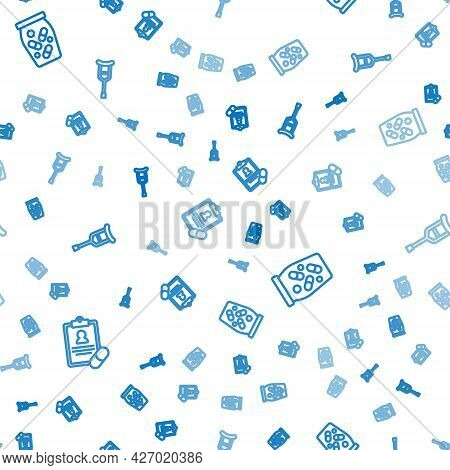 Set Line Medical Prescription, Medicine Bottle And Pills And Crutch Or Crutches On Seamless Pattern.