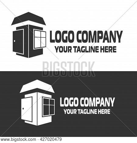 Door Logo Vector, Window Abstract Icon. Windows And Doors Service Abstract Concept Vector Illustrati