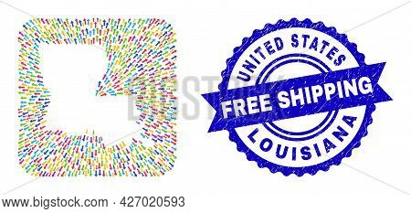 Vector Collage Louisiana State Map Of Arrows And Rubber Free Shipping Stamp. Collage Louisiana State