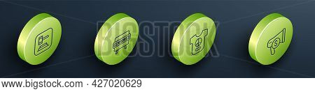 Set Isometric Line Judge Gavel, Censored Stamp, Peace And Megaphone And Dollar Icon. Vector