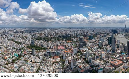 Panorama Photo Of Saigon Downtown In A Summer Day