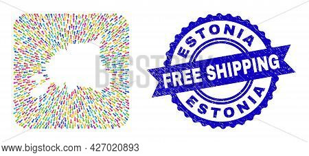 Vector Collage Estonia Map Of Emigration Arrows And Rubber Free Shipping Seal Stamp. Collage Estonia