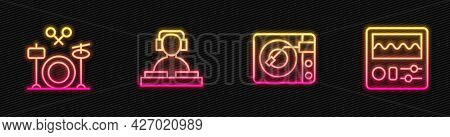 Set Line Vinyl Player With Vinyl Disk, Drums, Dj Playing Music And Machine. Glowing Neon Icon. Vecto