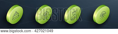 Set Isometric Line Ark Of Noah, Christian Cross, Krampus, Heck And Religious In Circle Icon. Vector