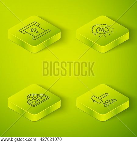 Set Isometric Line Religious Cross In Circle, Stained Glass, Crucifixion Of Jesus Christ And Flag Wi