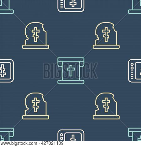 Set Line Online Church Pastor Preaching, Grave With Tombstone And Flag Christian Cross On Seamless P