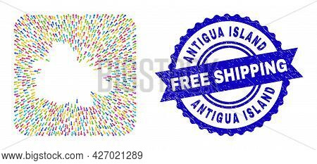 Vector Collage Antigua Island Map Of Abandon Arrows And Rubber Free Shipping Badge. Collage Antigua