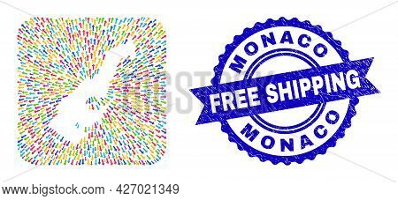 Vector Mosaic Monaco Map Of Movement Arrows And Rubber Free Shipping Badge. Mosaic Monaco Map Constr