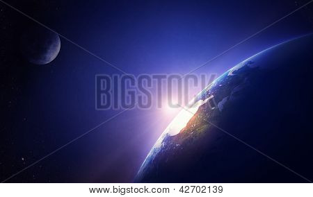 Earth sunrise North America (Elements of this image furnished by NASA- earthmap  http://visibleearth.nasa.gov)