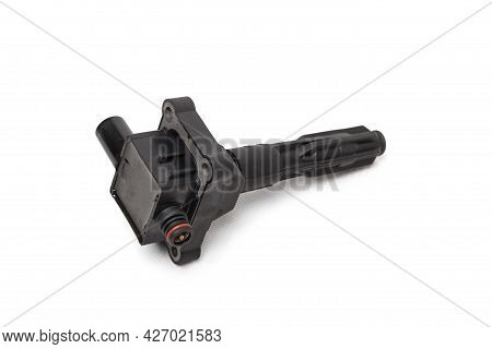 Ignition Coil For An Internal Combustion Engine Of A Car During Repair And Service On A White Isolat