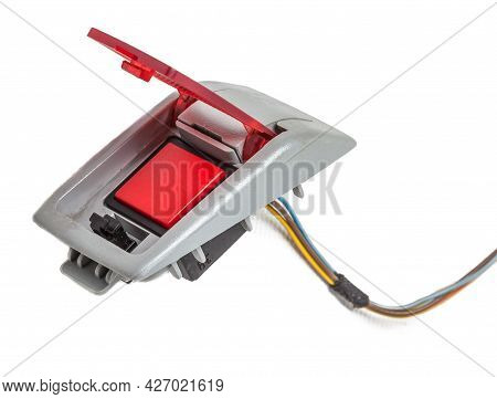 Emergency Red Sos Button Which Is Used For Help After Car Accident On White Isolated Background