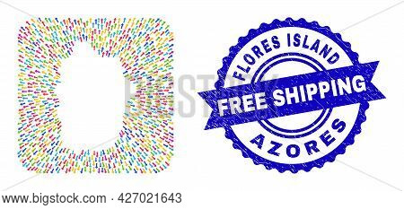 Vector Mosaic Flores Island Of Azores Map Of Evacuation Arrows And Grunge Free Shipping Stamp. Mosai