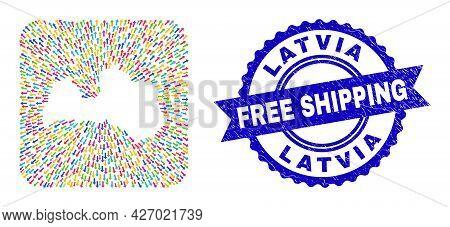 Vector Mosaic Latvia Map Of Leaving Arrows And Rubber Free Shipping Badge. Mosaic Latvia Map Designe