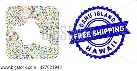 Vector Collage Oahu Island Map Of Moving Arrows And Rubber Free Shipping Stamp. Mosaic Oahu Island M