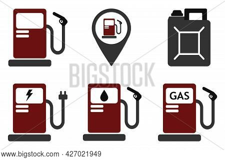 Fuel Pump, Gas Station Icons, Refueling Symbol Isolated On White Background. Refueling With Petrol,