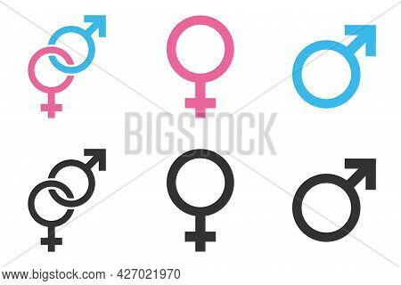 Gender Icons Female And Male Sign Isolated On White Background, Blue And Pink Colors, In Separate An