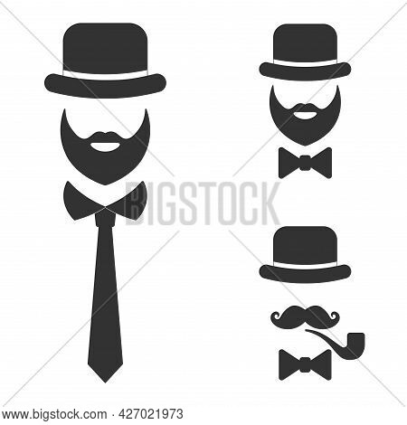 Gentleman Icon. Man In A Hat, With A Mustache And With A Bow Tie Or Tie Isolated On A White Backgrou