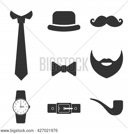 Gentleman Vintage Accessories Icons Set. Men Signs Collection Isolated On White Background. Set Of G