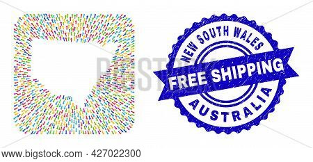 Vector Collage New South Wales Map Of Away Arrows And Rubber Free Shipping Stamp. Collage New South
