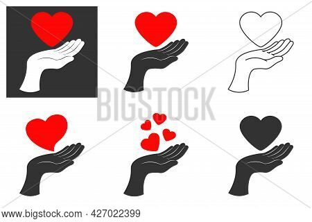 Hand Holding Heart Icon. Line, Glyph And Filled Outline Colorful Version, Heart In Hand Outline And