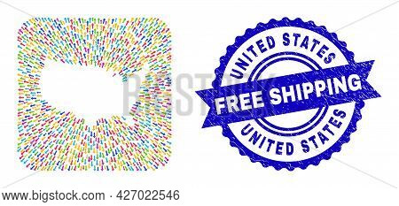 Vector Mosaic United States Map Of Away Arrows And Rubber Free Shipping Badge. Mosaic United States
