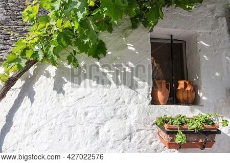 Fragment Of A House In The Village Of Trulli, Alberobello, Puglia, Italy. A Window With Two Jugs In
