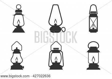 Kerosene Lamp Creative Icon Isolated On White Background. Simple Element Illustration. Kerosene Lamp