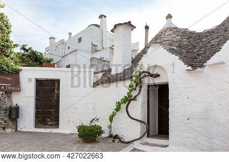 Alberobello, Puglia, Italy - June 26, 2019: Trulli Village White House.