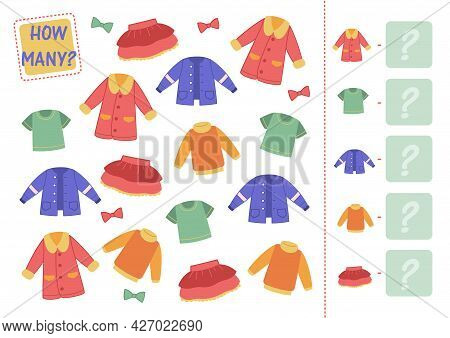 Math Mini-game With Clothes. Count How Many Wardrobe Items, Clothes Are Shown And Enter In The Squar