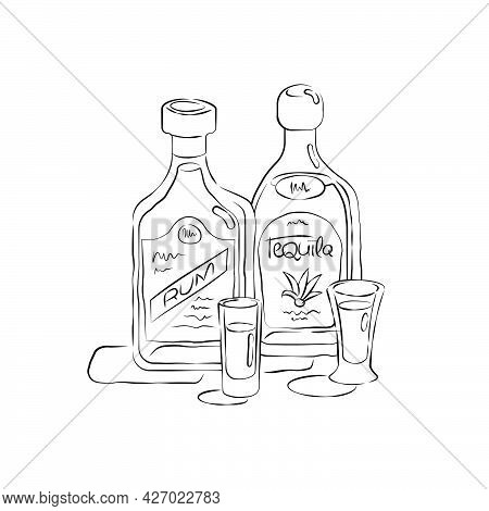Bottle And Glass Rum And Tequila Together In Hand Drawn Style. Beverage Outline Icon. Restaurant Ill
