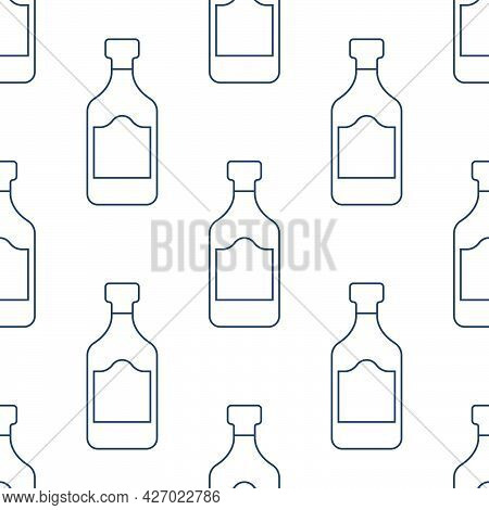 Rum Bottles Seamless Pattern. Line Art Style. Outline Image. Black And White Repeat Template. Party